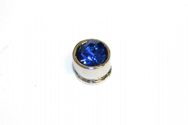 10pcs x 7mm*6mm Round metal bead with royal blue rhinestone -- 1 hole -- S.A -- WC214 -- 5000006